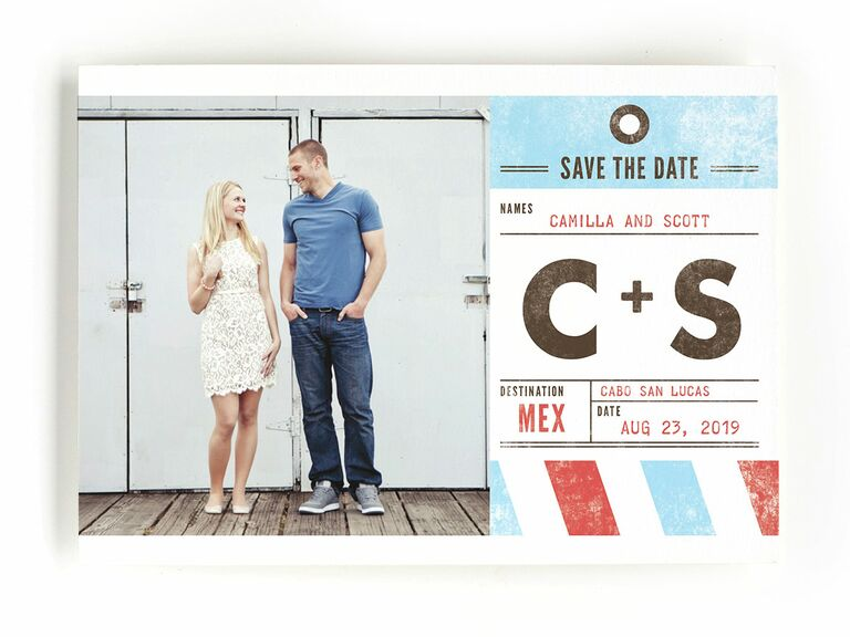 Minted luggage tag destination wedding save-the-date