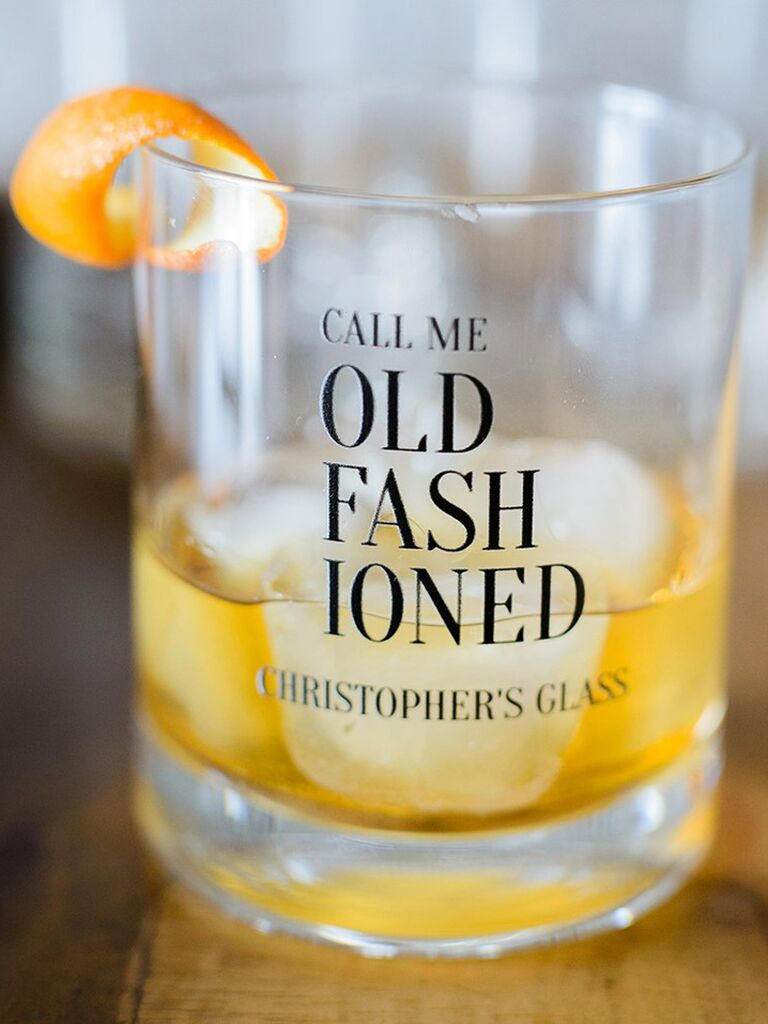 Personalized Old Fashioned glass father of the groom gift