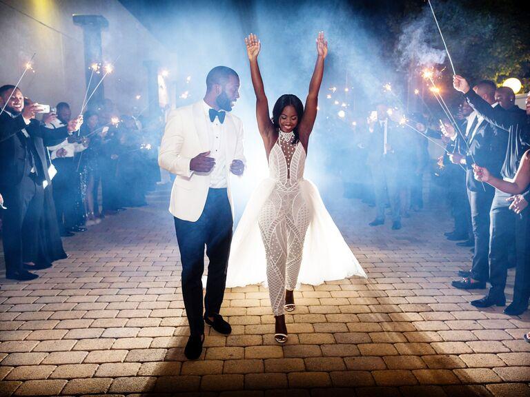Couple leaving wedding reception