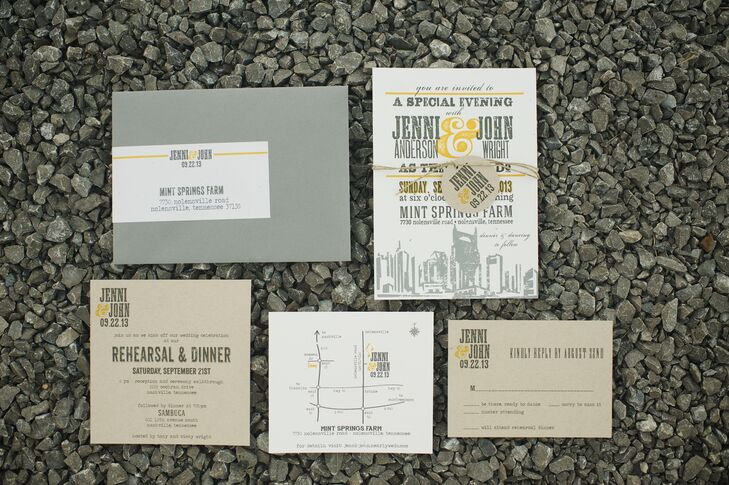 The invitations that Jenni and John chose were a graphic yellow and gray five-piece set which included a map to the ceremony and reception site.