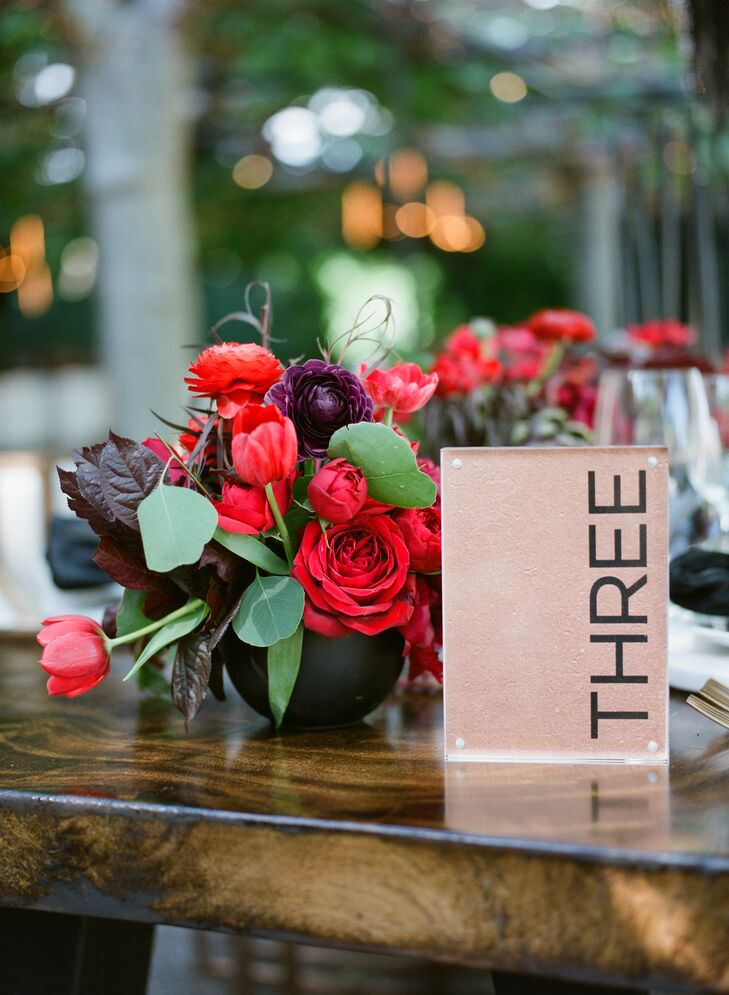 Modern Lucite Table Number and Red Floral Arrangement