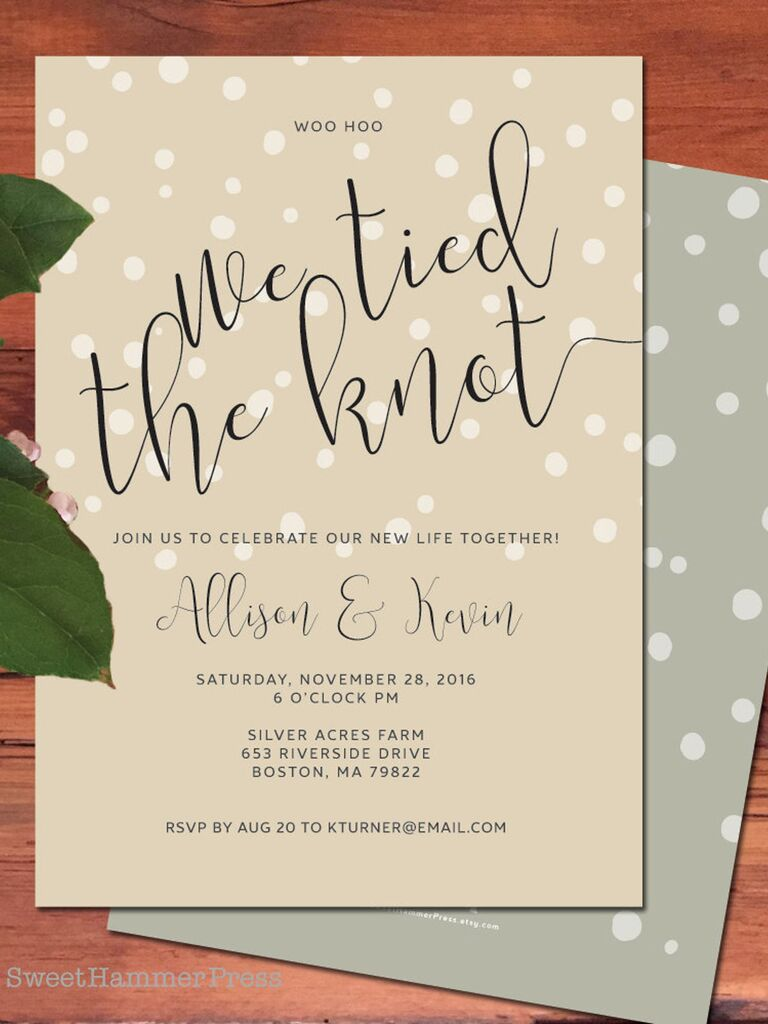 Sweet Hammer Press We Tied the Knot announcement