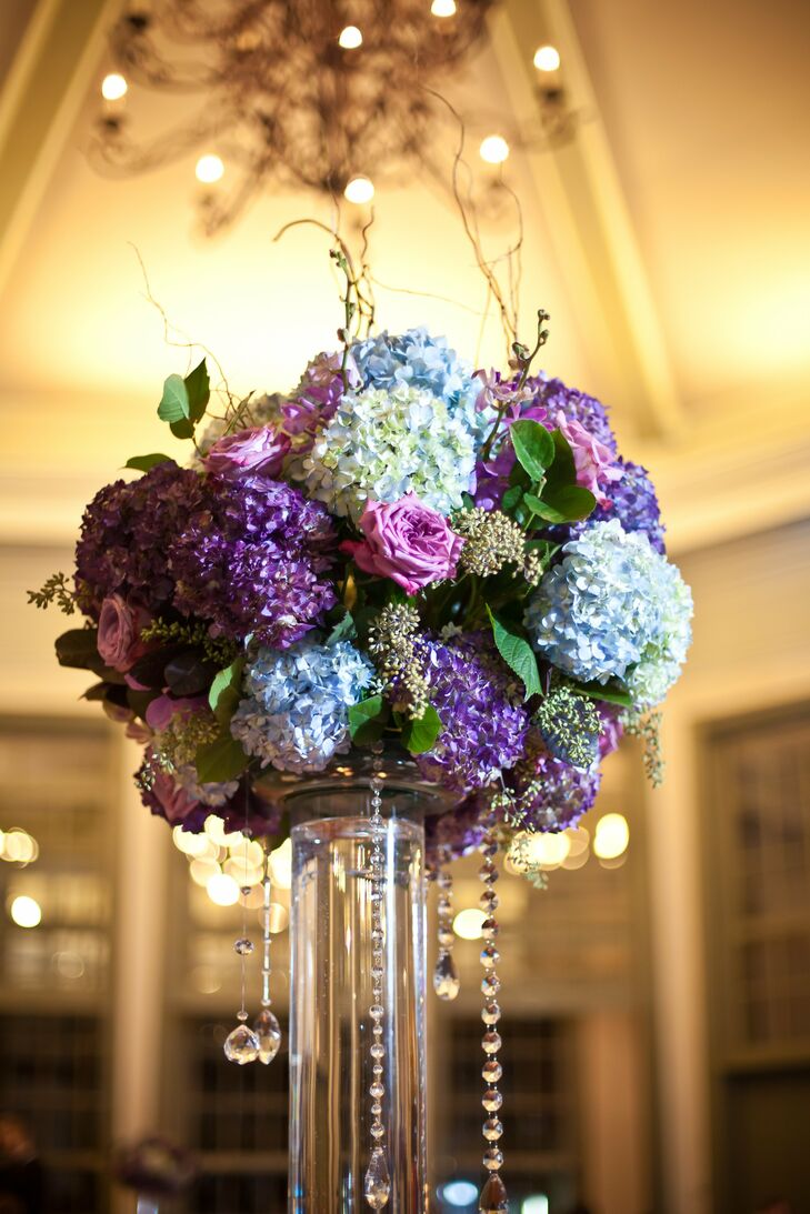 Blue and Purple Hydrangea Centerpiece