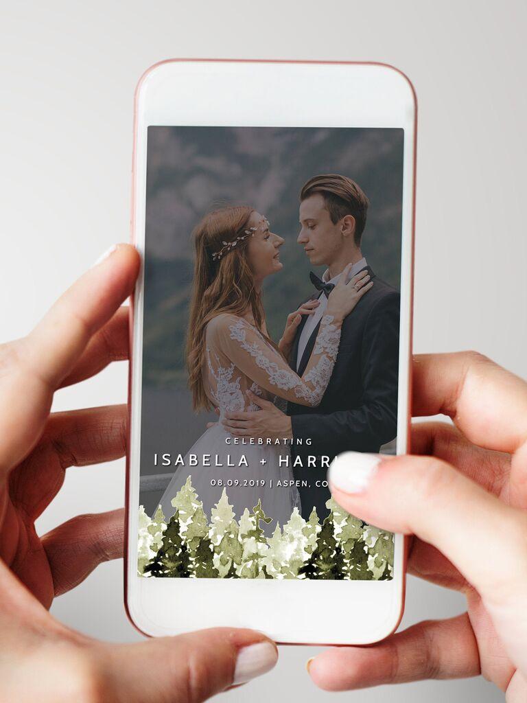 Rustic mountain wedding custom Snapchat filter