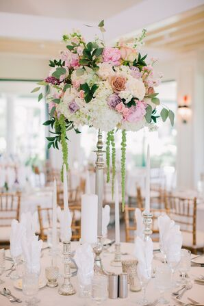 Spring Hydrangea and Peony Centerpiece with Cascading Amaranthus