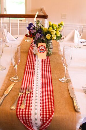 Red Gingham and Burlap Dining Table Runners