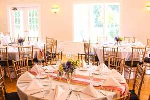 Retro Red Gingham and Burlap Dining Tables