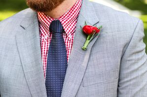 Retro Red Gingham Groom Shirt and Blue Tie