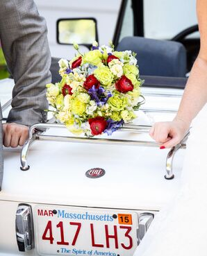 Light Green Bouquet with Red and Blue Accents