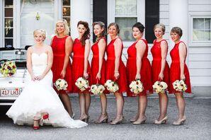 Retro Red Knee Length Bridesmaids Dresses