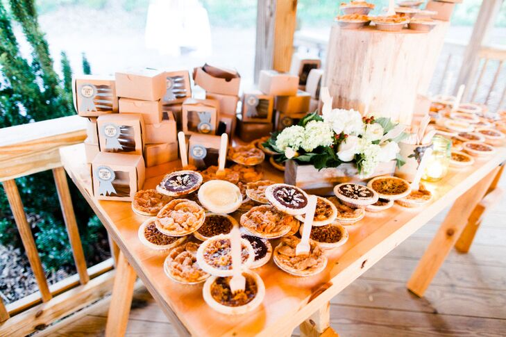 """We wanted to go in a different direction than a traditional wedding cake so we had an assortment of mini pies for our guest that were beyond scrumptious!"" says Cory."