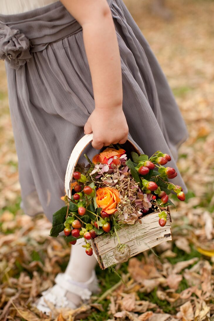 Joe's niece carried a birch-bark basket filled with roses and berries down the aisle.