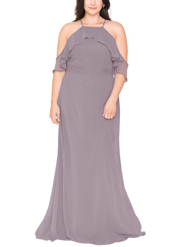 Mauve plus-size bridesmaid dress