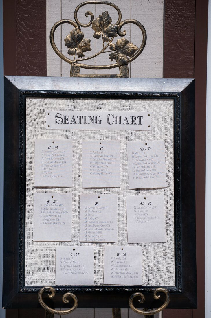 This printed seating chart was pinned to a framed, painted burlap canvas.