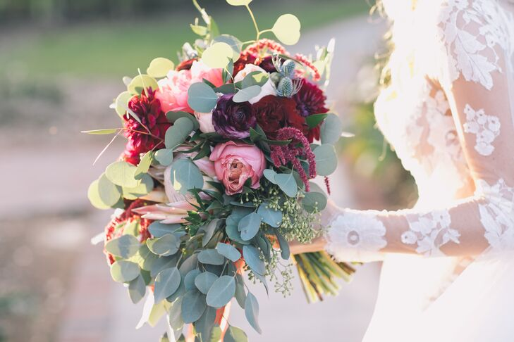 Bouquet with Garden Roses, Protea, Ranunculus, Amaranthus and Eucalyptus