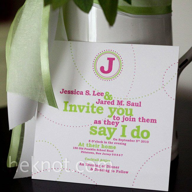 Jessica and Jared chose a fun pink and green design.