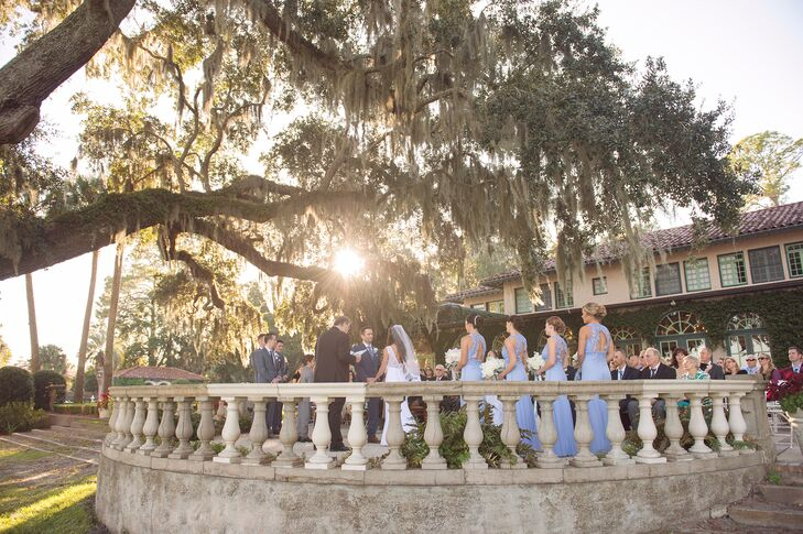 Abbey and Adam held their reception and traditional ceremony at the The Club Continental in Jacksonville, Florida. The enclosed ceremony was accented with ivy covered walls and a 300-year-old oak tree, which served as their backdrop.