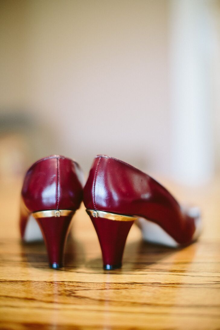 """To complement Anthony's tweed sport coat, Paulina sported merlot-colored high heels, an Etsy score. The vintage shoes were lined with metallic gold and lettered with little """"A's"""" on the heel, a nod to Anthony."""