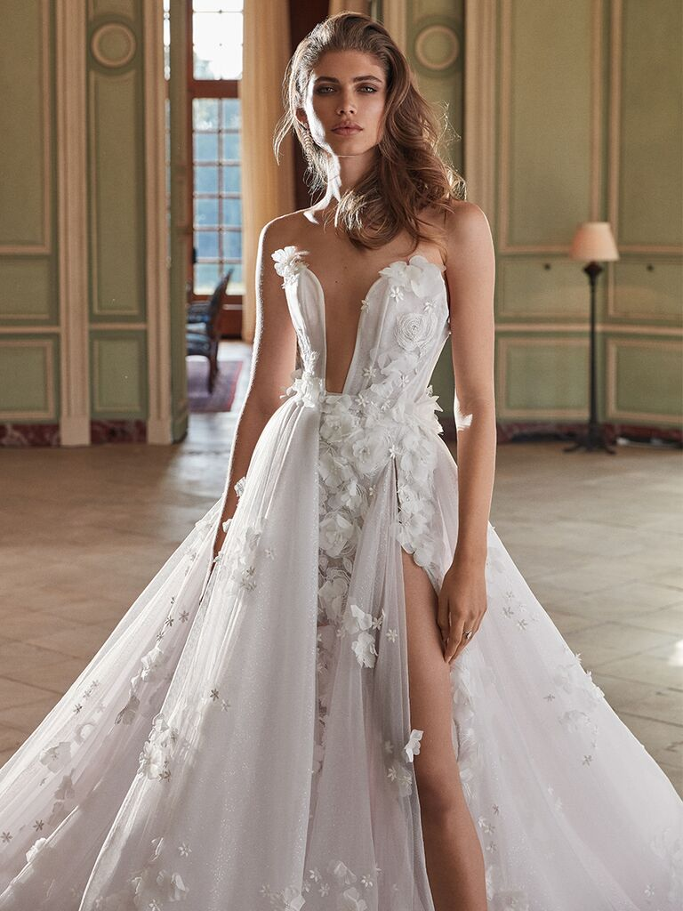 Galia Lahav gown with deep bodice cut out and slit