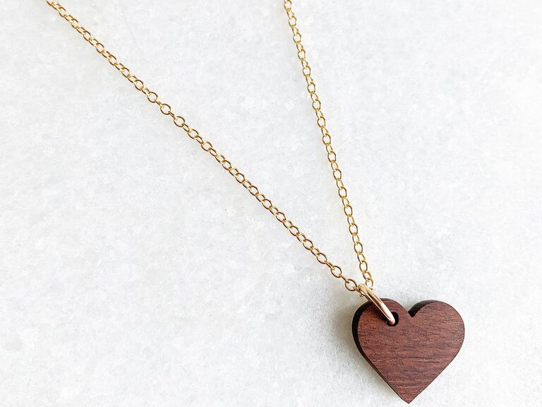 Wooden heart pendant on gold chain