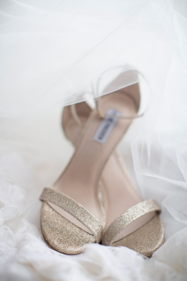 """Mari's love for gold and glitter also came out in her shoes. She paired her ivory and white look with a striking pair of strappy Steve Madden heels. """"My high heels just topped everything off, along with my rose gold jewelry,"""" she says."""