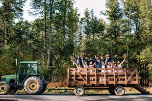 Rustic Wedding Party on Hay Rack Ride