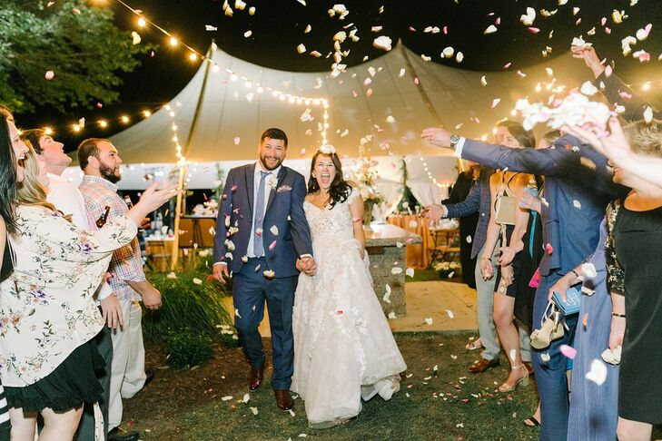 Classic Backyard Exit with Bride, Groom and Confetti