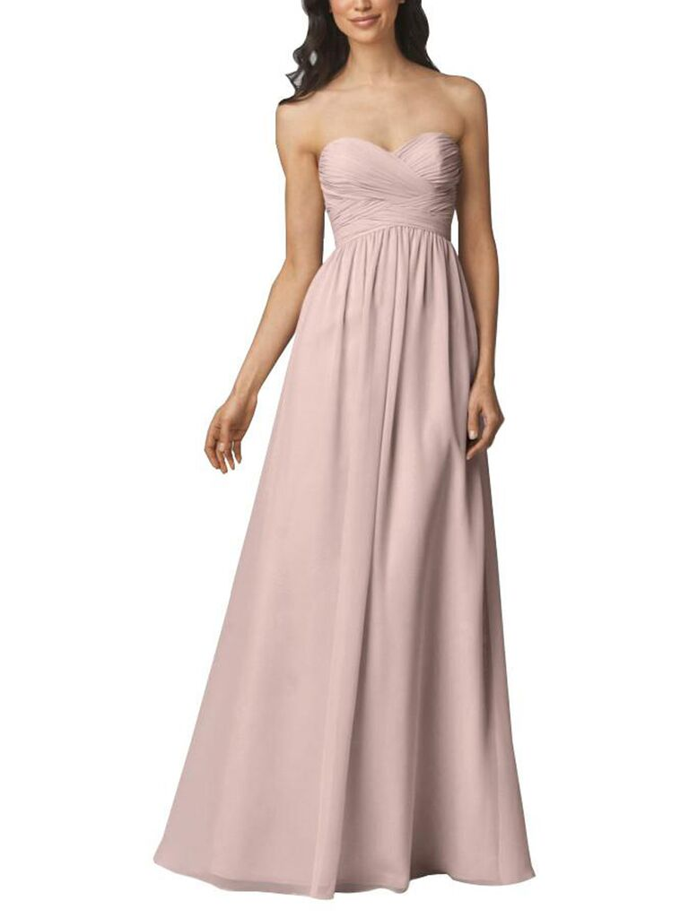 Strapless blush pink bridesmaid dress