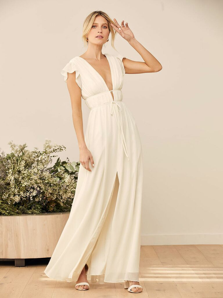 Lulus wedding dress with cap sleeves and deep v neckline in chiffon fabric