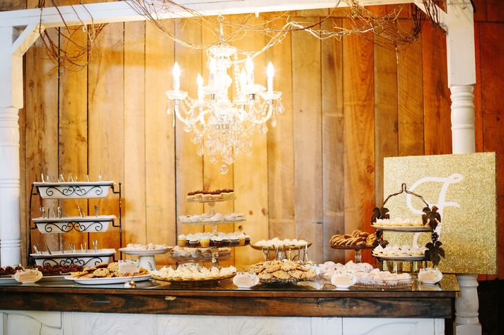 The couple had a dessert bar complete with miniature pecan trifles, bite-size coconut-cream and chocolate pies and cupcakes. The desserts included the couple's favorite recipes and treats and added another personal, DIY touch to their reception.