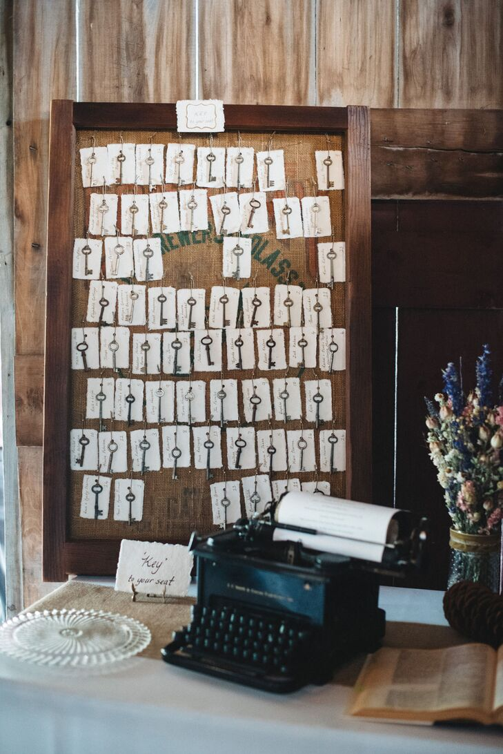 At the reception, white escort cards were hung on a wood, rustic board with metal keys. The board was positioned in front of an antique typewriter.