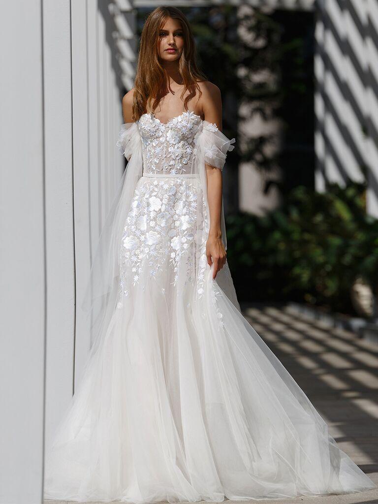 Mira Zwillinger lace off-the-shoulder A-line dress