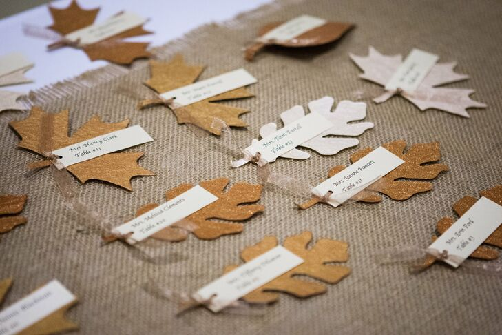 Glitter-Leaf Escort Cards