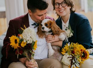 "When the COVID-19 pandemic derailed their initial wedding plans, Christine and Kate decided to get married at home. ""We got married in our backyard in"