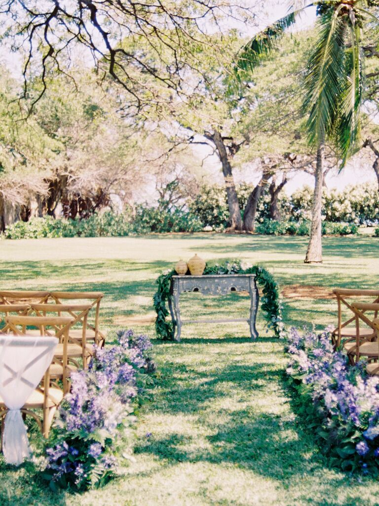 Charming outdoor wedding setup with a vintage ceremony altar