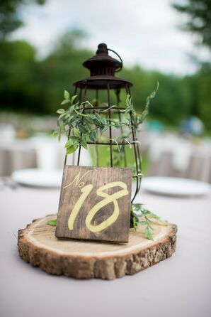 Rustic Lantern and Wood Centerpiece