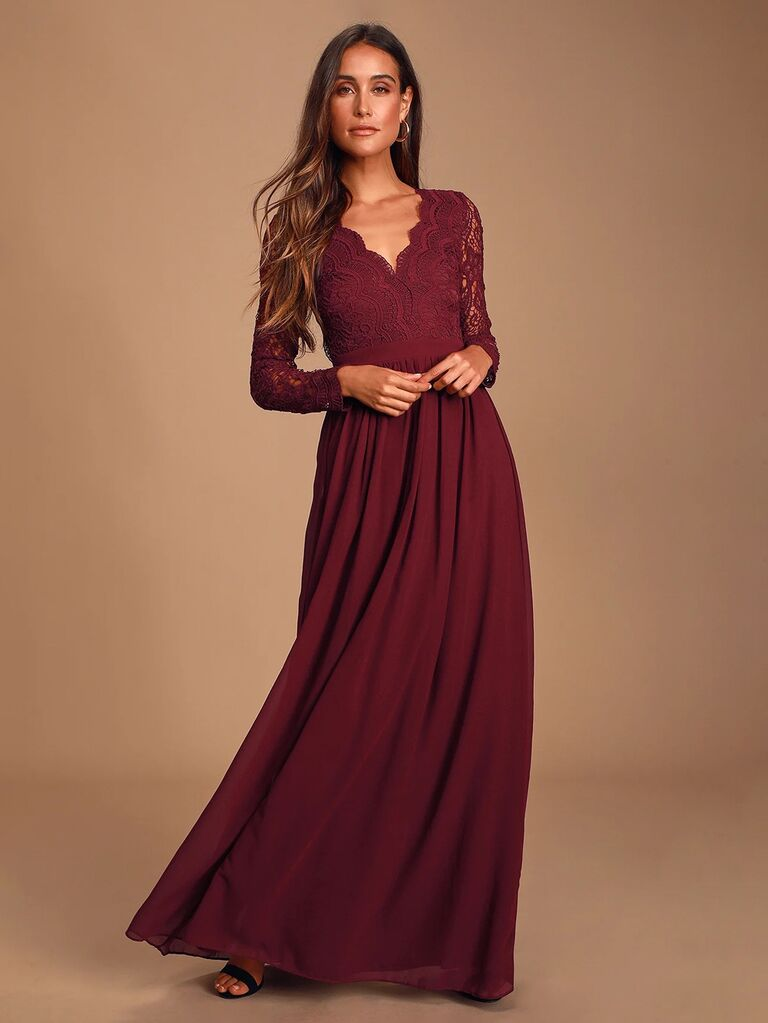 lulus burgundy winter bridesmaid dress with long sleeves and lace