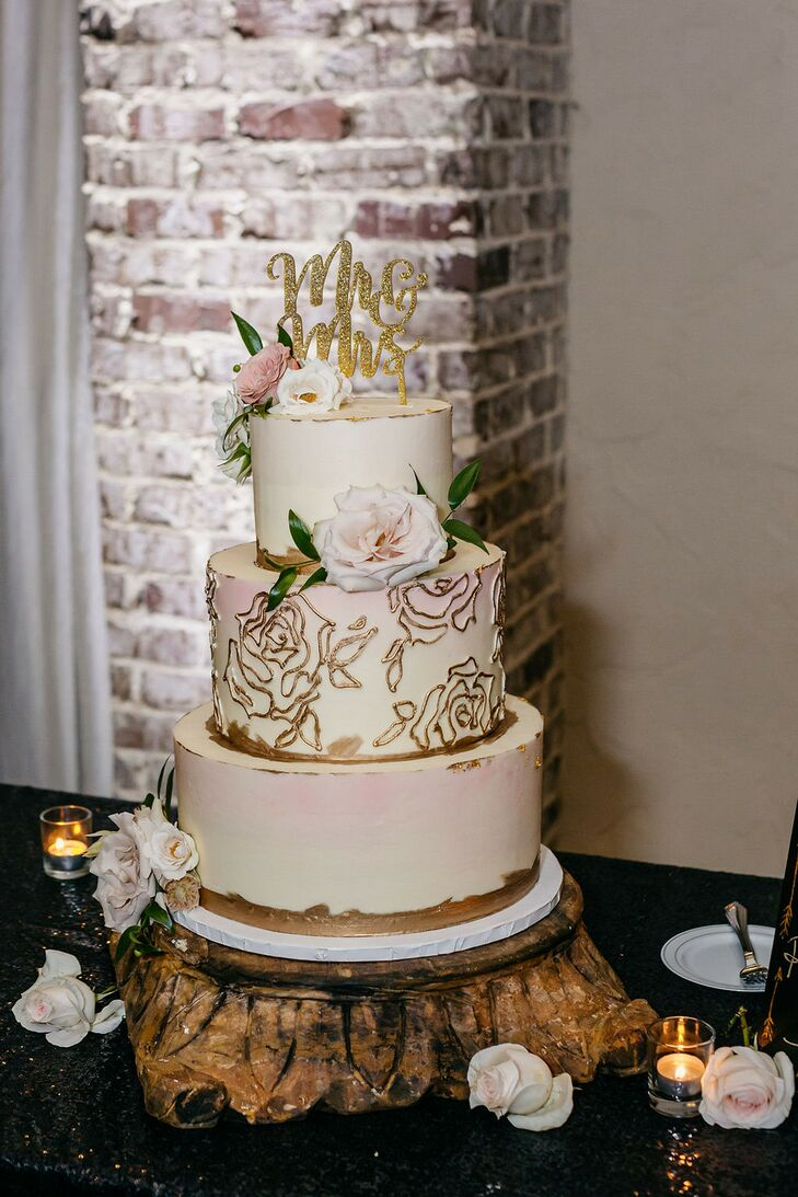 Three-Tier White-and-Gold Cake for Wedding at Hidden Waters in Waxahachie, Texas
