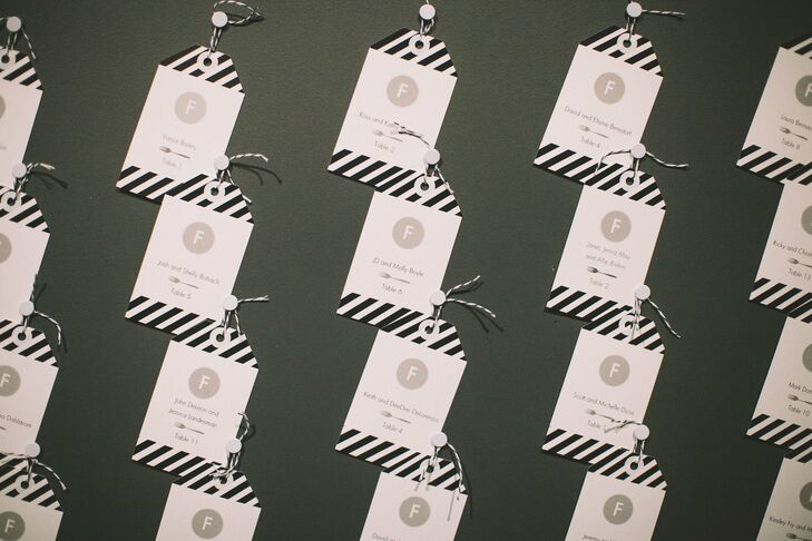 The gift tag escort tags were accented with a striped design along the top and bottom.