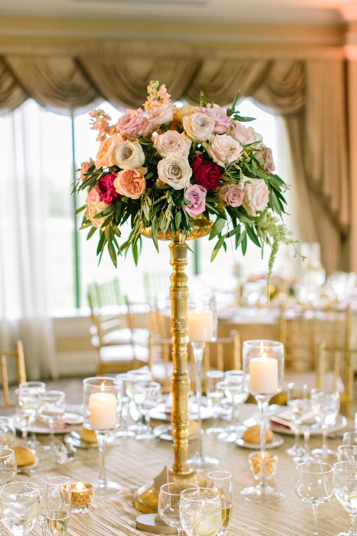 Rose, Anemone, Ranunculus and Dahlia Centerpiece on Antique Gold Stand