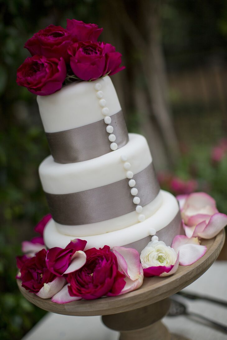 Ribbon Wrapped Three-Tier Cake