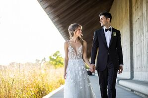 Glamorous Couple with Modern Appliqué Wedding Dress and Classic Tuxedo