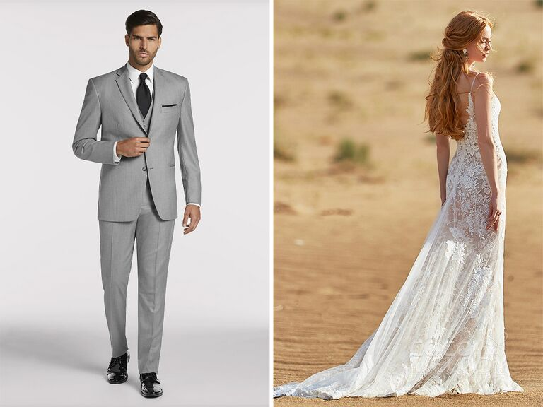 5f8414382a2 romantic lace wedding dress and gray suit