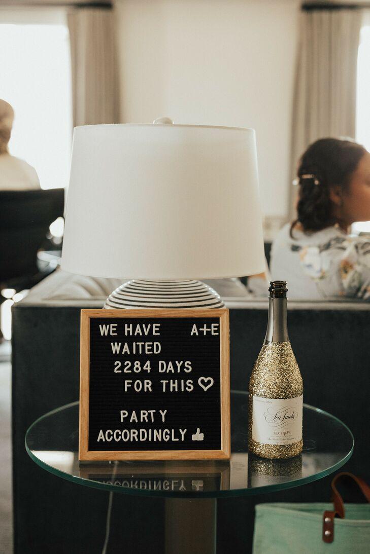 Champagne and Letter Board at Hotel Californian in Santa Barbara, California