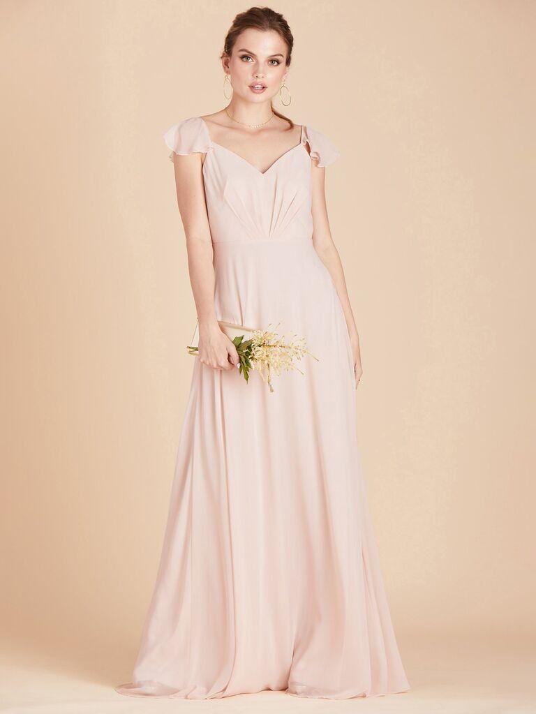 birdy grey light pink winter bridesmaid dress