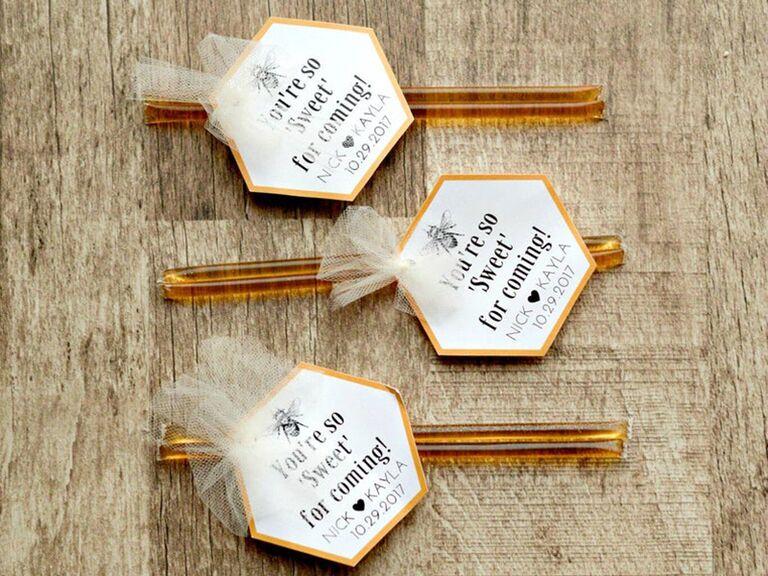 honey sticks wedding favors