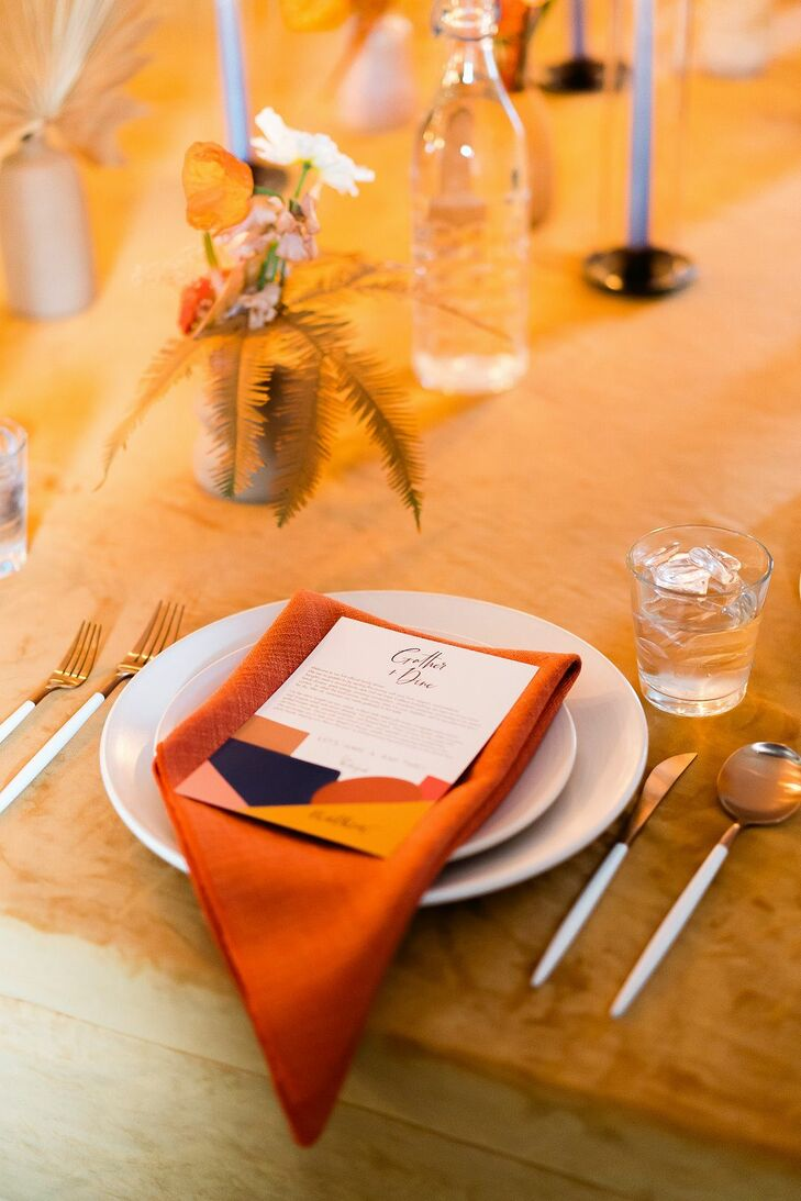 Orange-Centric Place Settings at the Ace Hotel and Swim Club in Palm Springs