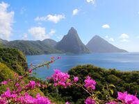 The pitons in St. Lucia as seen from Jade Mountain Resort