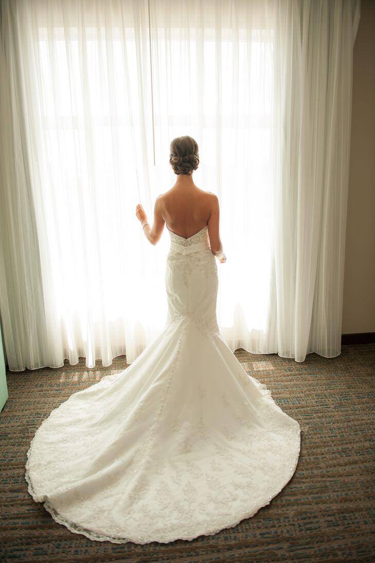 White Strapless Beaded Wedding Dress