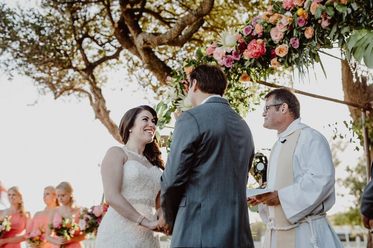 Pink and Peach Garden Rose Ceremony Arch
